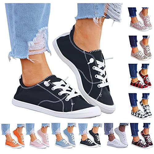 Dasongff Damen Canvas Sneakers Low-Cut Sneaker Canvas Flache Schuhe Frauen Sommer Beiläufige Schuhe Slip on SneakersHerbst Turnschuhe Canvas Sneakers Slip on Sportschuhe Segeltuchschuhe