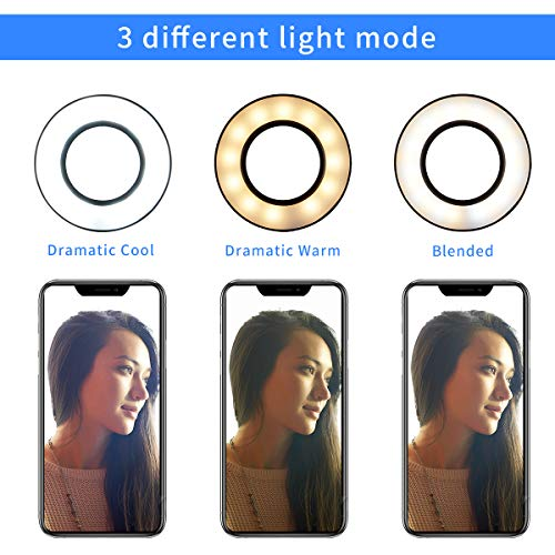 Tranesca Selfie Ring Light with Cell Phone Holder Stand for Live Stream/Makeup, LED Camera Lighting [3-Light Mode] with Flexible Arms Compatible with iPhone 8 7 6 Plus X Android (Black)