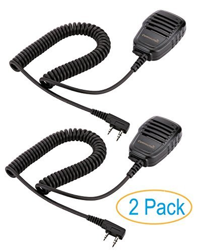 2 Pack Compact Speaker Mic with Reinforced Cable for Baofeng Radios BF-F8HP BF-F9 UV-82 UV-82HP UV-82C UV-5R UV-5R5 UV-5RA UV-5RE UV-5X3 V2+ and TYT Wouxun Kenwood Radio, Speaker Microphone