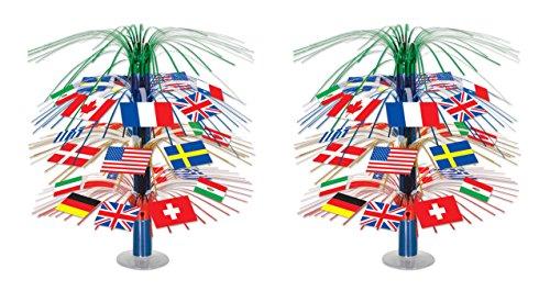 Beistle International Flag Cascade Centerpiece, 2 Piece, 18', Multicolored