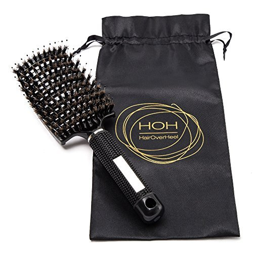 Cepillo desenredador de cerdas de jabalí - curvado y perforado para mujeres con pelo largo, grueso, fino, rizado y con enredos Cepillo de ventilación