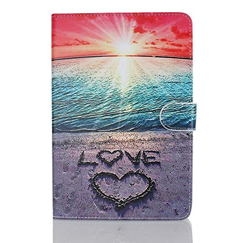 Case for Tablet iPad Mini, Flip Cover Leather Wallet with Card Holder for iPad Mini 1 2 3 4 5 - Love Beach