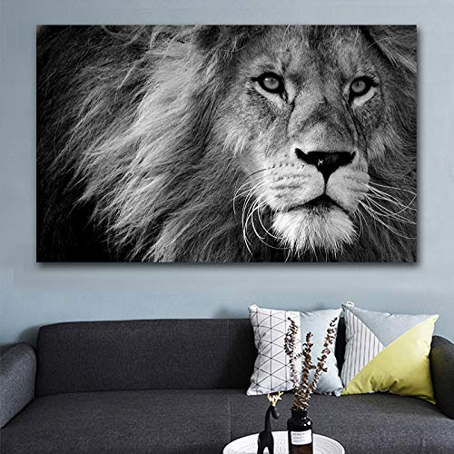 wZUN Picture Canvas Painting HD Animal Wall Art Lion Canvas Painting Poster Home Decoration Black and White Picture Living Room 50X75CM