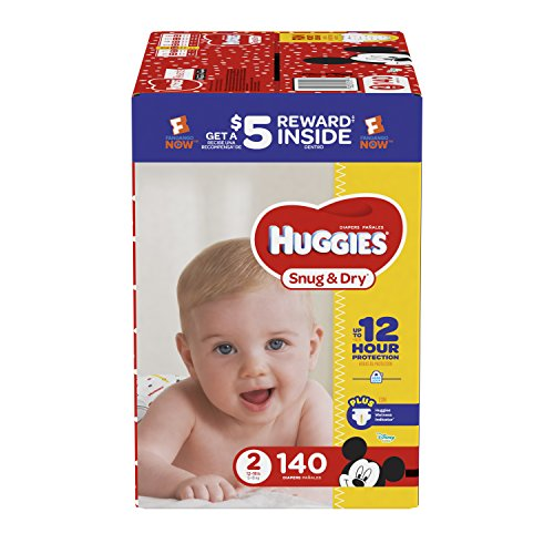 HUGGIES Snug & Dry Diapers, Size 2, 140 Count, GIGA JR PACK (Packaging May Vary)