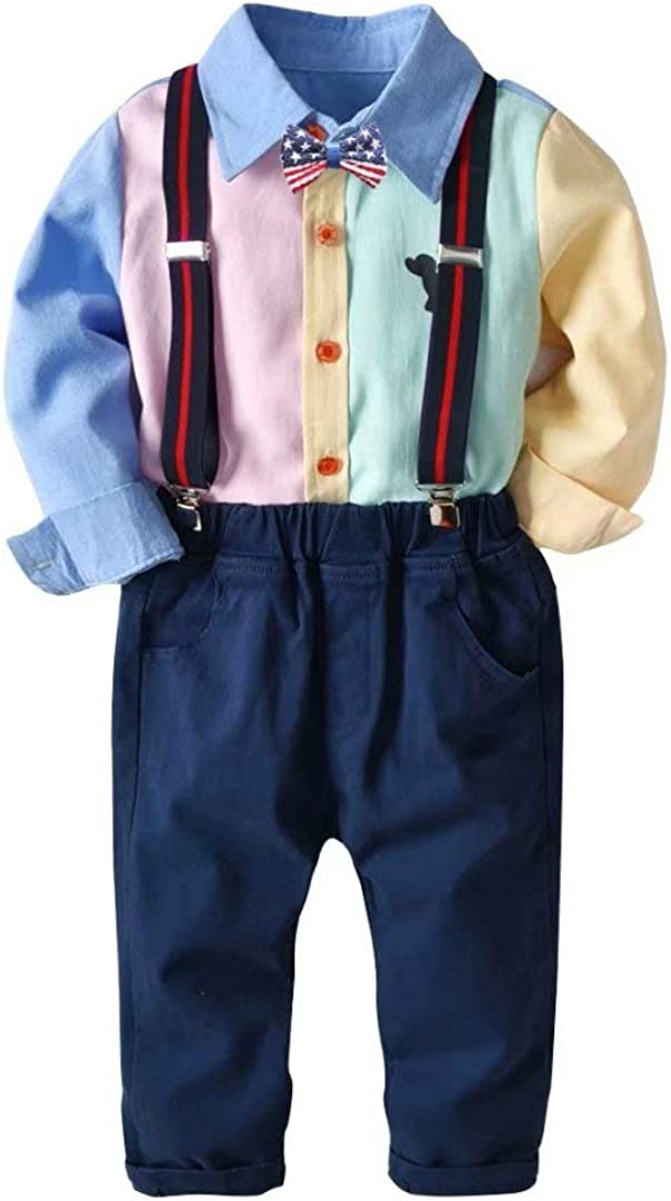 Uinolo Baby Boy's Gentleman Outfits 3 Pieces Suits Bow Tie Shirts + Suspender Pants