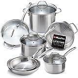 Mueller Pots and Pans Set 11-Piece, Ultra-Clad Pro Stainless Steel Cookware Set, Ergonomic...