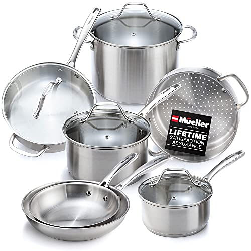 Mueller Pots and Pans Set 11-Piece, Ultra-Clad Pro Stainless Steel Cookware Set, Ergonomic and EverCool Stainless Steel Handle, Includes Saucepans, Skillets, Stockpot, Saute Pan, Steamer