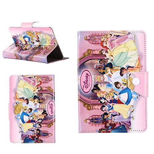 Kids Children Popular Gift Stand up Case Cover Compatible with Apple iPad Models (iPad 2 3 4, All Princesses Pink Case)