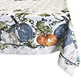 Newbridge Pumpkin Vines Stone Washed Bordered Thanksgiving and Fall Season Fabric Tablecloth, Multi-Colored Pumpkin Cottage Harvest Print Easy Care Tablecloth, 60 Inch x 84 Inch Oblong/Rectangle