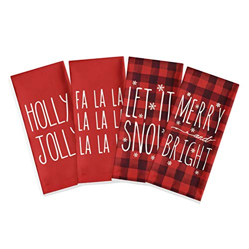 Artoid Mode Buffalo Plaid Holy Jolly FA La La Let It Snow Merry Bright Kitchen Dish Towels, 18 x 28 Inch Christmas Holiday Ultra Absorbent Drying Cloth Tea Towels for Cooking Baking Set of 4