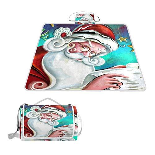 Bennigiry Merry Christmas Couverture de Pique-Nique Extra Large Pliable et imperméable pour Camping Familial pour extérieur Plage randonnée Herbe Voyage