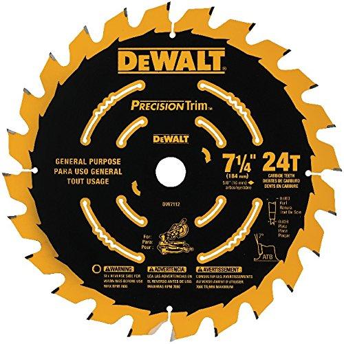 DEWALT DW7112PT DEWALT DW7112PT 24T Precision Trim Miter Saw Blade, 7-1/4