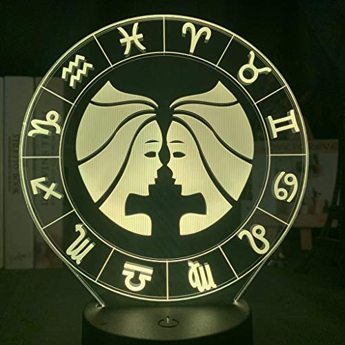 Kind Nachtlicht Gemini LED Buntes Nachtlicht Raumdekor Licht Geburtstag Kinder Geschenk Zwölf Sternbild Nachttischlampe