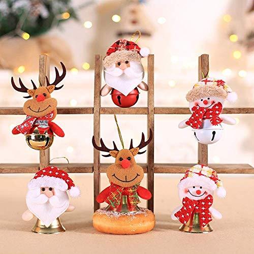 Annhao Ornamenti per Alberi di Natale 6 Pezzi Albero di Natale Ornamenti per Alberi di Natale Pendenti Bambole di Pezza Campane Finestra Dell'hotel Accessori 2020