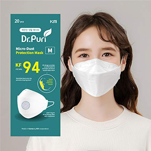 [20 Pack] Dr.Puri New Micro-Dust Protection Face Premium Mask (KF94) White Medium