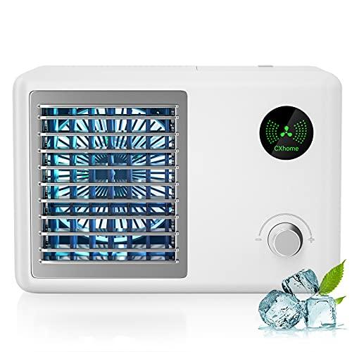 CXhome mini Condizionatore Portatile Ventilatore, Raffreddatore d'aria Evaporativo USB, 3 Velocità Regolabili e Gradiente RGB, Stile Radio Retrò, per Casa, Ufficio, Viaggi