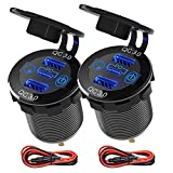 2 Packs PD Type C Car Charger Socket & Dual Quick Charge 3.0 Ports Aluminum, 60W USB C Triple 12V USB Socket Aluminum Car Charger with Touch Switch, Waterproof PD Charge for Car Boat Marine RV