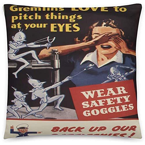 GodYo Vintage Poster - Arbeitssicherheit 0543 - Quadratische Kissenbezugfüllung - 18 x 18