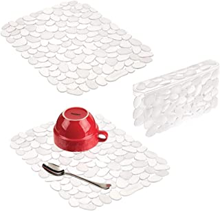 mDesign Adjustable Kitchen Sink Dish Drying Mat/Grid - Soft Plastic Sink Protector, Cushions Sinks, Dishes - Quick Draining Pebble Design - Includes 1 Saddle, 2 Large Mats - Set of 3 - Clear
