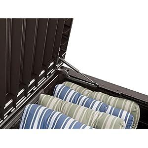Keter Westwood Plastic Deck Storage Container Box Outdoor Patio Garden Furniture 150 Gal, Brown
