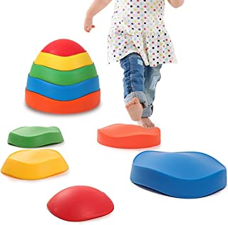 leofit Wavy River Stepping Stones 5-Pieces Early Kids Education Balance&Coordination Training for Indoor, Outdoor, Grass, Home, Park