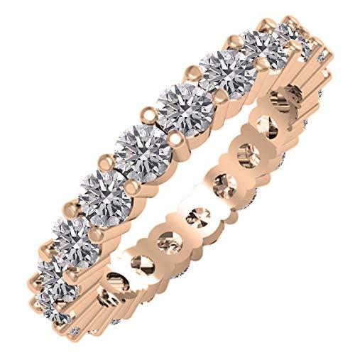 Dazzlingrock Collection Anillo de boda apilable de 2 quilates (2 quilates) de diamante redondo cultivado en laboratorio para mujer, anillo de boda de 2 quilates, disponible en metal 10 K/14 K/18 K oro
