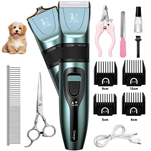 TastyHome Dog Clippers for Grooming, Dog Nail Clippers Hair Shaver,Two Blades for All Pets, Low Noise,USB Rechargeable Cordless Electric Hair Clippers Set,Pet Clippers for Dogs,Cats,Rabbits and More