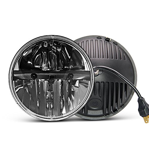 7 inch LED Headlight Round 2PCS E-MARK Approved 6000K Hi/lo Beam lamp Halo, Uni-light J004-2pcs