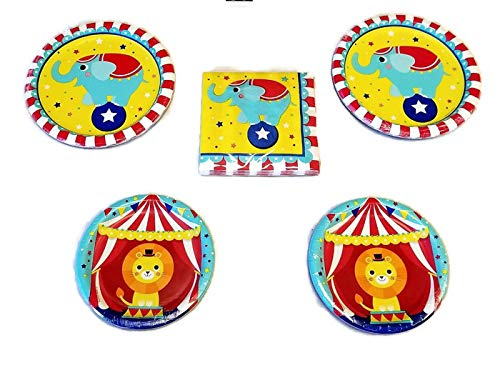 """Circus Party Happy Birthday 9"""" Party Plates (16) 7"""" Plates (16) Napkins (16) Party Bundle"""