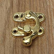QIEP 12 stks Antieke Decoratieve Sieraden Gift Houten Doos Hasp Klink Lock met Schroef (Gouden)
