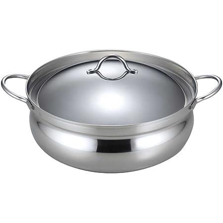 下村企販 日本製 ステンレス鍋 26cm 2人用 土鍋 両手鍋 卓上鍋 割れない 欠けない 軽量 3層鋼 IH対応 41953