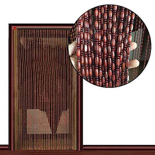 SUYUHENG Cortinas Cuentas, Divisor Colgante Madera Cortina Cadena Puerta Panel Mosquitera para Sala Estar Dormitorio Fiesta Eventos (Color : Brown, Size : 90x200cm)