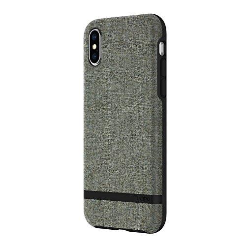 Incipio [Esquire Series Carnaby Schutzhülle für Apple iPhone Xs / X - Grau/Grün [Qi kompatibel/Oberfläche aus Baumwolle/Robuste Hartschale/Edle Optik/Hybrid] - IPH-1631-FGY