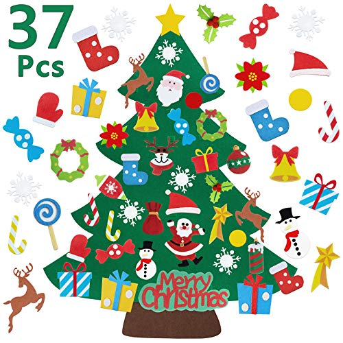Trooer 3ft Felt Christmas Tree for Toddlers Kids, DIY Christmas Tree with 37Pcs Ornaments and Sticky Hook, Xmas Gifts Home Door Wall Decoration
