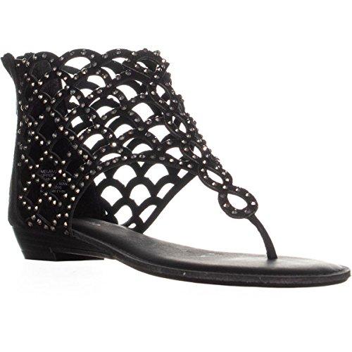 ZIGI SOHO Womens Melaa Split Toe Casual Gladiator Sandals, Black, Size 6.5