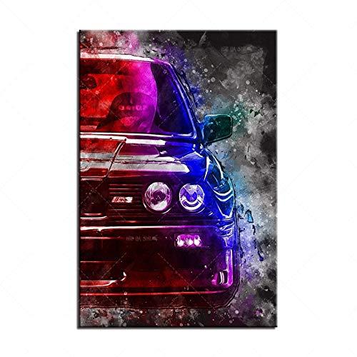 N/A Leinwand Malerei Dekoration Moderne Hd-Kunst Leinwand Retro Racing Car Poster Dekorative Drucke Wandmalerei Schlafzimmer Wohnzimmer Rahmen Bilder Für Zu Hause Weihnachts Neujahrsgeschenke