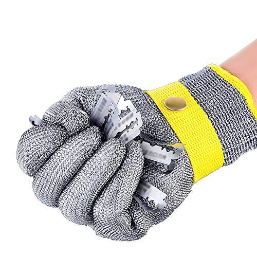 Schnittfeste Handschuhe 316L Anti-Schneidhandschuhe, Sicherheitshandschuhe Für Küchenfleisch Schneiden, Um Die Austernhaut Zu Entfernen, Mit Einstellbarem Handgelenkband (Size : Large)