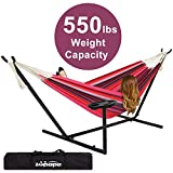 Zupapa Double Hammock with Stand and Carrying Case, Accommodates 2 People, 550 Pound Capacity Portable for Garden Backyard Camping Indoor Outdoor Use - Cherry Pie