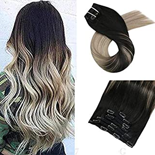 Moresoo 16inch Clip in Hair Extensions Human Hair Remi Human Hair Extensions Straight Hair Clip Color #1B Black Fading to #18 and #60 Blonde 7PCS 100G Full Head Hair Extensions Double Weft Clip in
