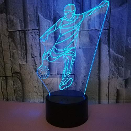 XFSE Lámpara de Mesa Gradientes De Color LED Atmósfera De Fútbol Estereoscópica 3D Táctil USB Remoto De Noche Luz De La Noche Lámpara De Escritorio Creativo Escritorio Vacaciones De Cumpleaños Regalos
