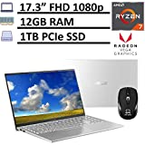 2020 Asus VivoBook 17 Thin&Light Sleek Laptop, 17.3' FHD Display, 2nd Gen AMD Ryzen 7 3700U 12GB RAM 512GB PCIe SSD Radeon RX Vega 10 Graphics, Webcam Type-C Win 10 + ePark Wireless Mouse