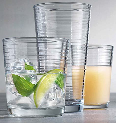 Durable Drinking Glasses [Set of 18] - Glassware Set Includes 6-17oz Highball Glasses, 6-13oz Rocks Glasses, 6-7oz Juice Glasses   Heavy Base Glass Cups for Water, Juice, Beer, Wine, and Cocktails