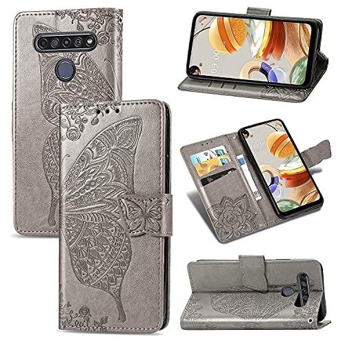 Teléfono Flip Funda Funda de billetera for LG K61, Caja de la cartera de la billetera de la banda de parachoques a prueba de choques / correa de muñeca / funda floral mariposa patrón cartera Tapa tras