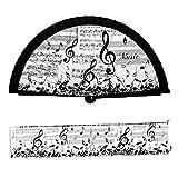 PracticDomus Abanico Plegable en Tela Estampada de Algodón Sobre Madera. Colección (Música)