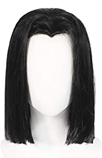 ANOGOL Wig Cap+Black Wigs Medium-length Straight Cosplay Wig Black Synthetic Wigs for Anime
