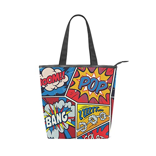alaza Tote Leinenschultertasche Retro Pop-Art-Comic-Handtasche