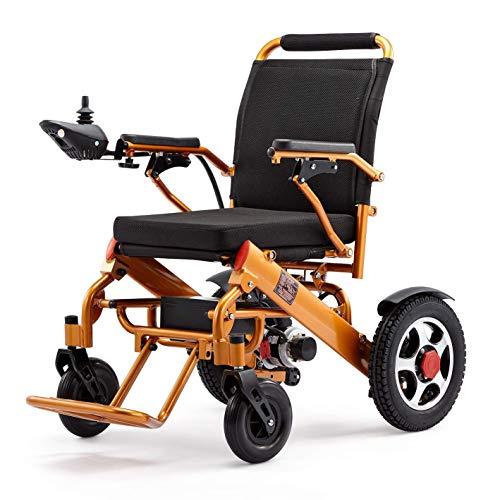 Myfei 2019, rolstoel, elektrisch, gemotoriseerd, licht en opvouwbaar, elektrische rolstoel, veilig voor luchtvaart, met draadloze afstandsbediening, slechts 55 lb, goudkleurig