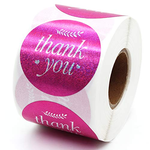 Thank You Sticker, Small Shop Sticker, Small Business, Packaging Sticker, Real Gold 500 PCS, 1.5 inch,-Vintage Feather (Pink)