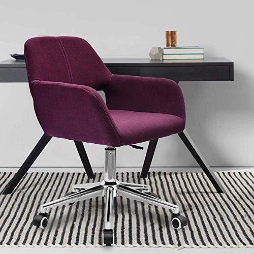 DFJU Cadeira de escritório Cadeira de Mesa para computador com braços, cadeira giratória de linho para conferências com rodas universais, ajustável em Altura, roxo