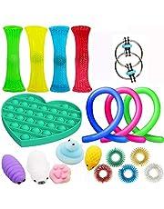 AWOME Sensoriska leksaker, 19st / set sensoriska finger akupressur massage ringar nudel rep set lindra stress dekompression vent leksak, fidget leksaker för barn och vuxna autism fiddelleksaker